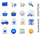 Blue Shopping Icons Professional vector set for your website, application, or presentation. The graphics can easily be edited colored individually and be scaled to any size - stock vector