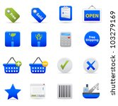Blue Shopping Icons Professional vector set of shopping for your website, application, or presentation. The graphics can easily be edited colored individually and be scaled to any size - stock vector