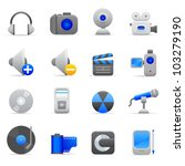 Blue Multimedia Icons Professional vector set of multimedia for your website, application, or presentation. The graphics can easily be edited colored individually and be scaled to any size - stock vector