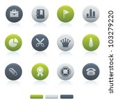Mixed Circle Office Icons office for your website, application, or presentation. The graphics can easily be edited colored individually and be scaled to any size - stock vector