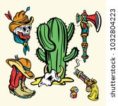 wild west old school tattoo...   Shutterstock .eps vector #1032804223