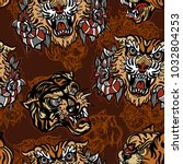 tigers seamless pattern  old... | Shutterstock .eps vector #1032804253