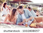 pretty happy couple together on ... | Shutterstock . vector #1032808057