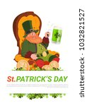 leprechaun man sitting in... | Shutterstock .eps vector #1032821527