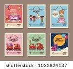 set on birthday kids party... | Shutterstock .eps vector #1032824137