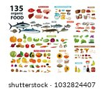 135 organic products. natural... | Shutterstock .eps vector #1032824407
