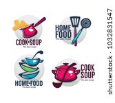 cook soup and home food  vector ... | Shutterstock .eps vector #1032831547