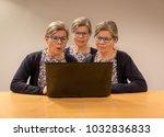 three clones of one woman... | Shutterstock . vector #1032836833