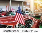 usa flag in a showroom with...   Shutterstock . vector #1032844267