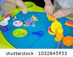 children hands playing with... | Shutterstock . vector #1032845953