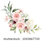 Stock photo  watercolor flowers floral illustration leaf and buds botanic composition for wedding or 1032867733