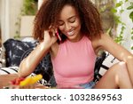 gorgeous young dark skinned... | Shutterstock . vector #1032869563