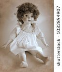 vintage porcelain doll with... | Shutterstock . vector #1032894907