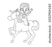 cute girl on unicorn cartoon | Shutterstock .eps vector #1032904183