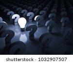 one glowing idea light bulb...   Shutterstock . vector #1032907507