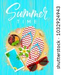 summer time beautiful flyer.... | Shutterstock .eps vector #1032924943