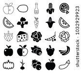 vegetarian icons. set of 25... | Shutterstock .eps vector #1032929923
