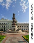 Small photo of Odessa, Ukraine - Jun 29, 2009: Monument of Catherine II the Great and the founders of Odessa in Odessa, Ukraine. Constructed in 1900. In 1920 it was dismounted by Communists. Restored again in 2007.
