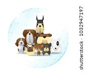 pet care concept with dogs... | Shutterstock .eps vector #1032947197