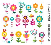 flowers. vector flat design... | Shutterstock .eps vector #1032949447