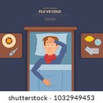 sick guy in bed with the...   Shutterstock .eps vector #1032949453