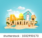 the word summer made of sand on ... | Shutterstock . vector #1032950173