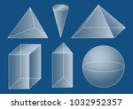 3d basic shapes. prism  pyramid ... | Shutterstock .eps vector #1032952357