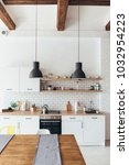 modern new light interior of... | Shutterstock . vector #1032954223