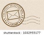 postal stamp  round brown... | Shutterstock . vector #1032955177