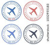 postal stamps with milan title. ... | Shutterstock . vector #1032955183
