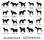 Stock vector vector set of different breeds dogs silhouettes isolated in black color on white background part 1032964153