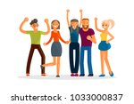 happy group of students. young...   Shutterstock .eps vector #1033000837