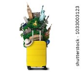 yellow travel bag with world... | Shutterstock . vector #1033003123