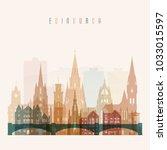 edinburgh skyline detailed... | Shutterstock .eps vector #1033015597