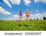 two girlfriends having fun in...   Shutterstock . vector #103302557