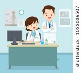 doctor sitting and standing at...   Shutterstock .eps vector #1033036507