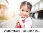 cute asian little girl in... | Shutterstock . vector #1033054453