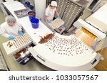 production of pralines in a... | Shutterstock . vector #1033057567