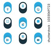 media icons colored set with... | Shutterstock .eps vector #1033069723
