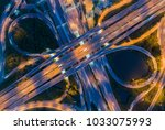 aerial view of traffic jams at... | Shutterstock . vector #1033075993