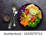 buddha bowl dish with chicken... | Shutterstock . vector #1033079713