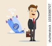 businessman and rocket crash.... | Shutterstock .eps vector #1033088707