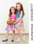 portrait of little girls... | Shutterstock . vector #1033108777