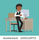 the manager reads a paper... | Shutterstock .eps vector #1033110973