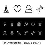 medicine icon set and heart...