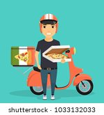 a young guy stands near a moped ...   Shutterstock .eps vector #1033132033
