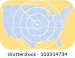 Map of the United States with radiating lines showing distance from the geographic center - stock vector