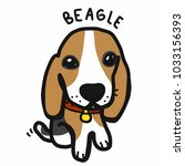 beagle dog cartoon doodle style | Shutterstock .eps vector #1033156393