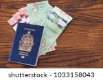 canadian passport with canadian ... | Shutterstock . vector #1033158043