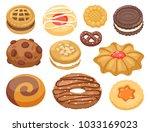 cookie vector cakes top view... | Shutterstock .eps vector #1033169023